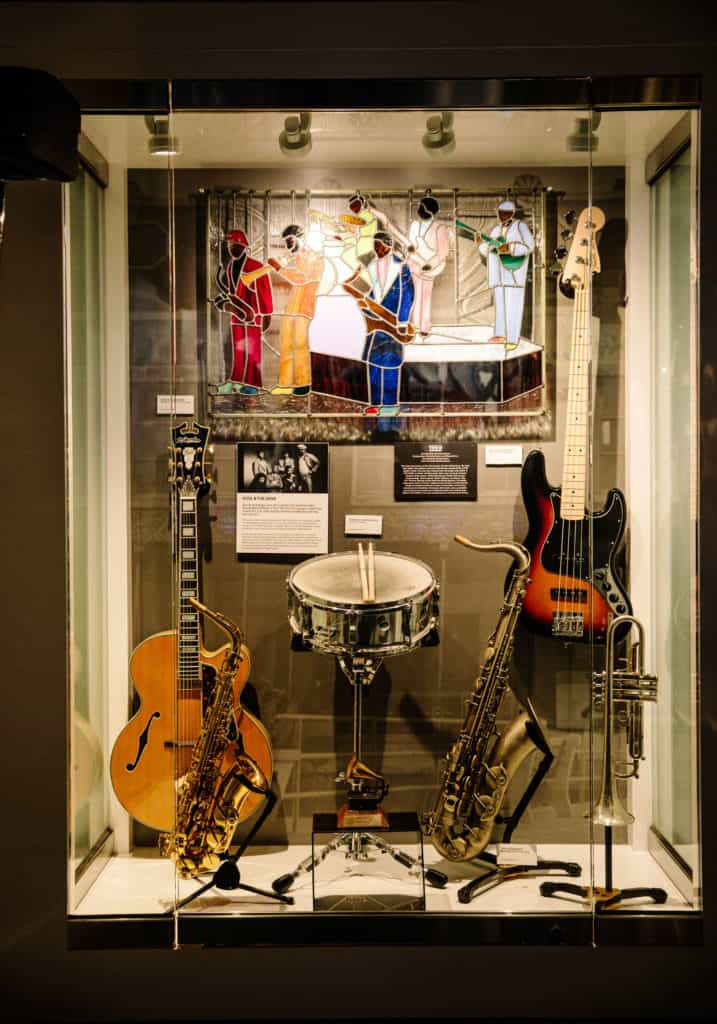 Instruments on display in a museum