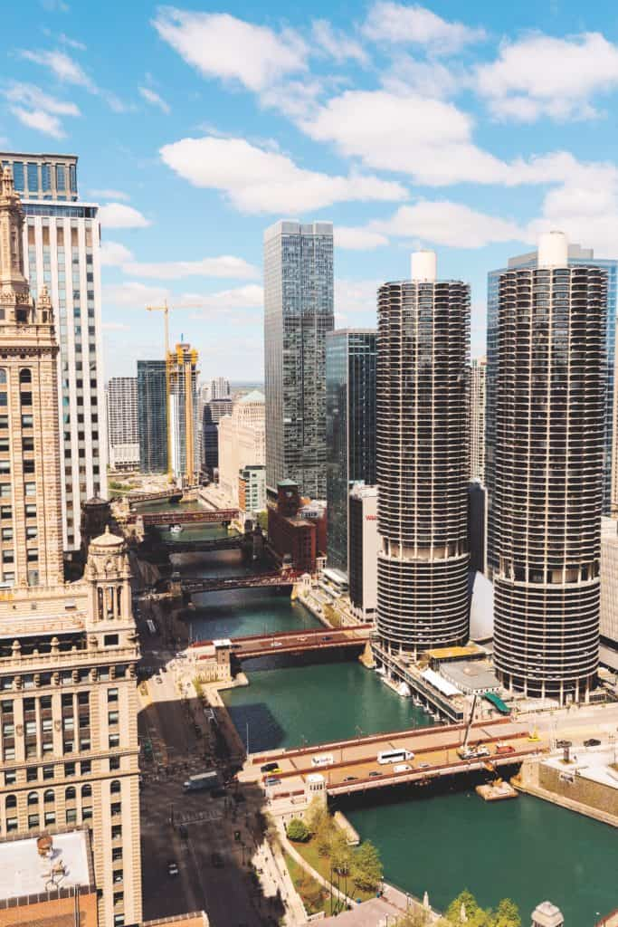 An aerial view of the Chicago River