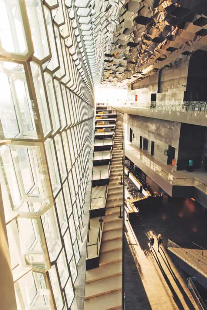 Inside the Harpa concert hall in Reykjavík