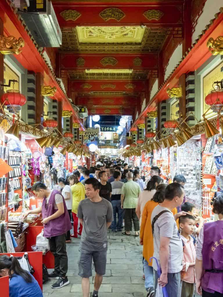 Vendors on Qianmen commercial street