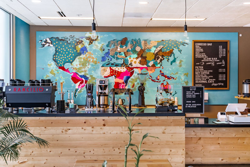 The counter at Kafiex Roasters–Coffee Lab in Vancouver, WA