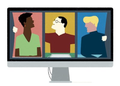 An illustrated Mac computer showing three people hugging each other.