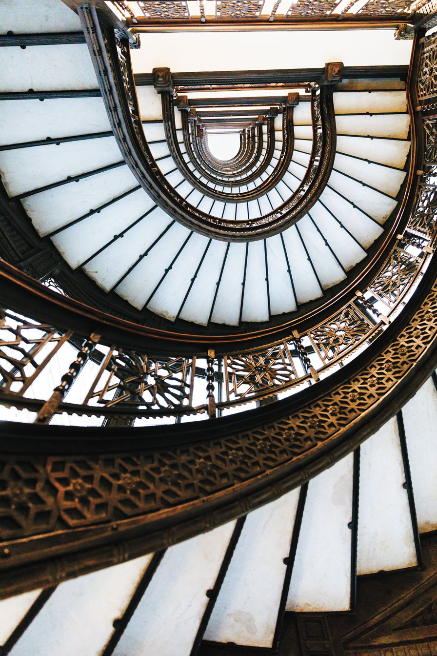 A beautiful spiral staircase leading upwards.