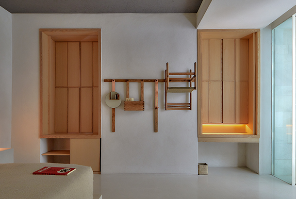 The minimalist and spa-like interior of a room in Círculo Mexicano Design Hotel in Mexico City