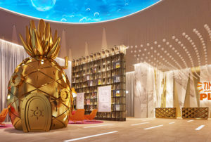 A golden recreation of Spongebob's pineapple home sitting in the lobby